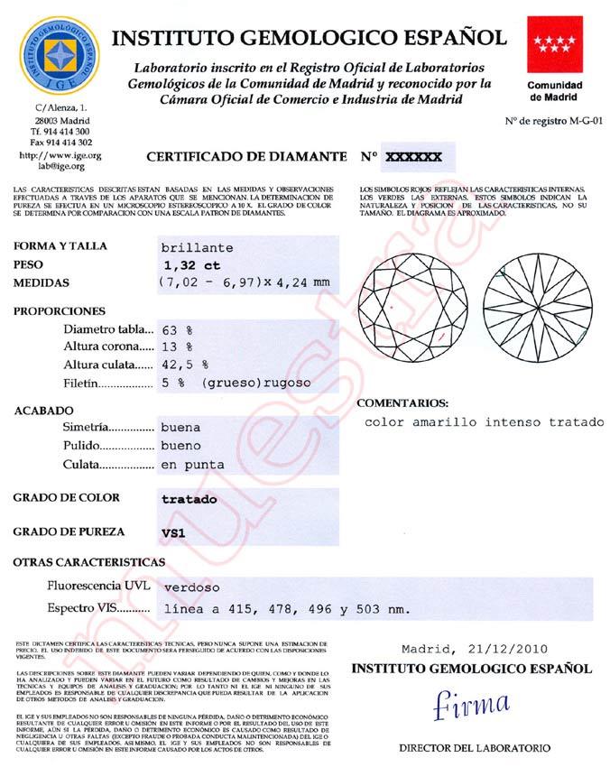 Certificado brillante IGE